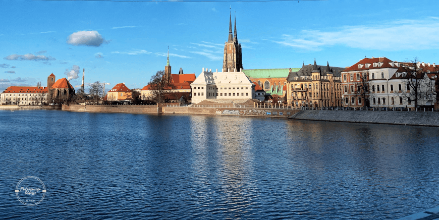 Widok na wrocławski Ostrów Tumski