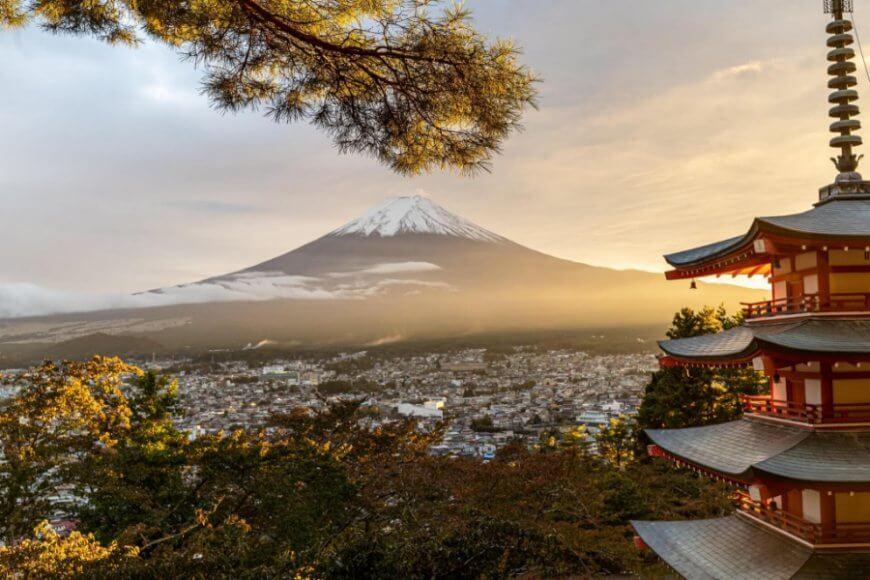 Widok na górę Fuji w Japonii